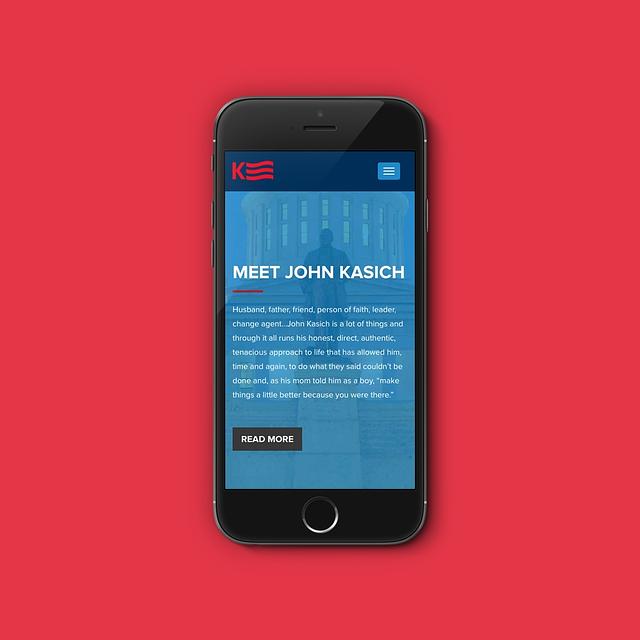 John Kasich site render on an iPhone